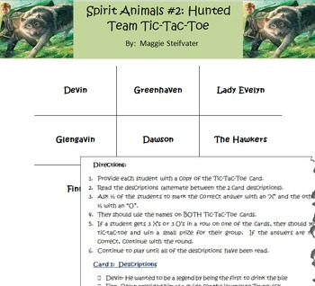 Spirit Animals Book #2: Hunted- Character & Places Tic-Tac-Toe Game