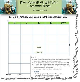 Spirit Animals: Wild Born Character Bingo