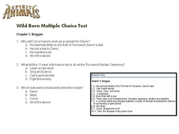 Spirit Animals Wild Born Multiple Choice Questions- For Easy Grading