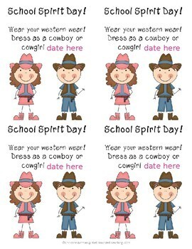 Spirit Day Dress Like A Cowboy Or Cowgirl Flyers Editable Date