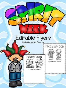 spirit day editable flyers by kindergarten couture tpt