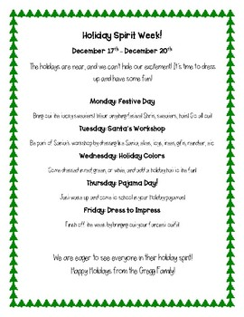 Spirit Week Flyer - Christmas holiday