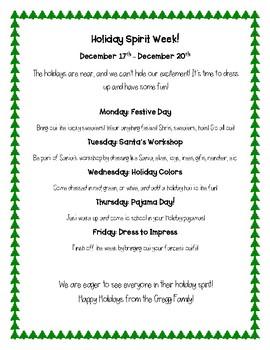 Christmas Spirit Week Ideas School.Spirit Week Flyer Christmas Holiday