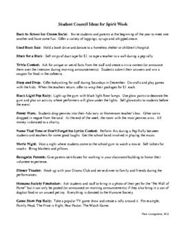 Spirit Week Ideas for Student Council