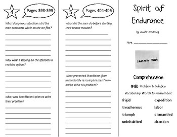 Spirit of Endurance Trifold - Treasures 5th Grade Unit 4 Week 1 (2011)