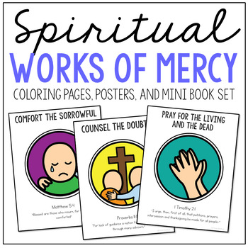 Spiritual Works of Mercy Posters, Coloring Pages, and Mini Book Set, Catholic