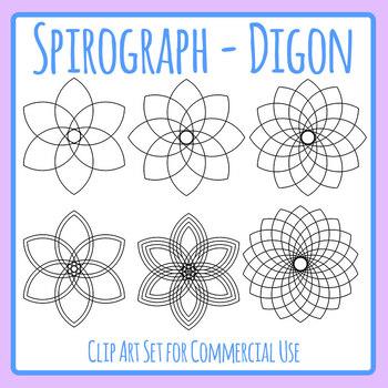 Spirograph Digon / Circles / Mandalas to Color In Clip Art Commercial Use