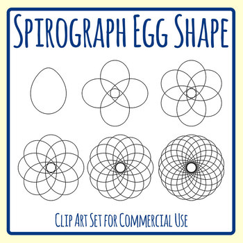 Spirograph Egg Shape / Mandalas to Color Clip Art Commercial Use