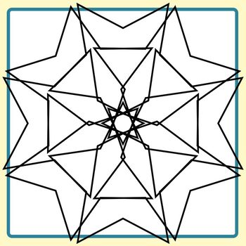 Spirograph Five Pointed Stars / Mandalas to Color Clip Art Commercial Use