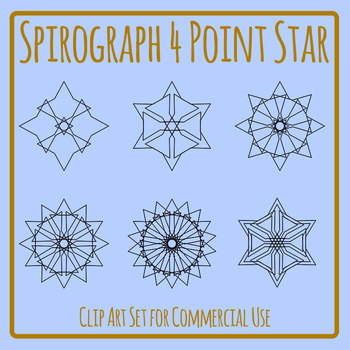 Spirograph Four Sided Stars / Mandalas to Color Clip Art Commercial Use