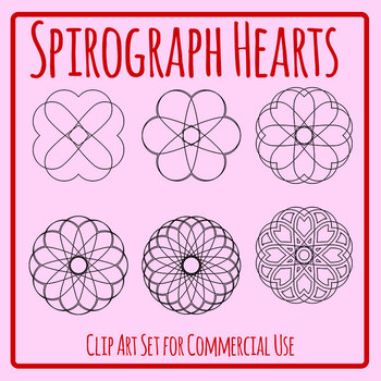 Spirograph Hearts / Mandalas to Color Clip Art Commercial Use