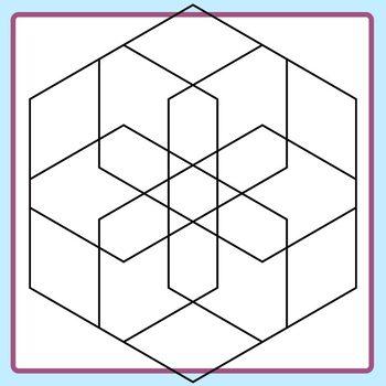 Spirograph Hexagon / Mandalas to Color Clip Art Commercial Use