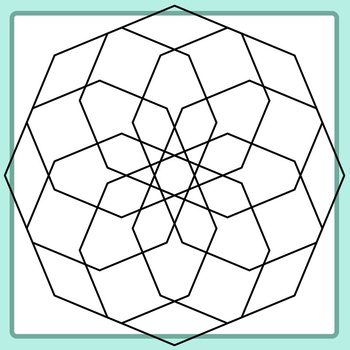 Spirograph Octogons / Mandalas to Color Clip Art Commercial Use