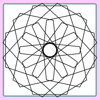 Spirograph Pentagons / Mandalas to Color Clip Art Commercial Use