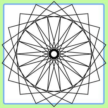 Spirograph Quadrilaterals / Circles / Mandalas to Color Clip Art Commercial Use