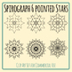 Spirograph Six Pointed Stars / Mandalas to Color Clip Art Commercial Use