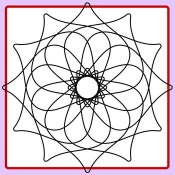 Spirograph Swirl Tile Shape / Mandalas to Color Clip Art Commercial Use