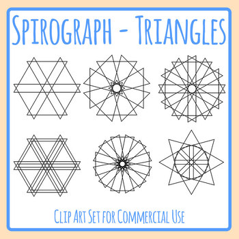Spirograph Triangles / Circles / Mandalas to Color In Clip Art Commercial Use