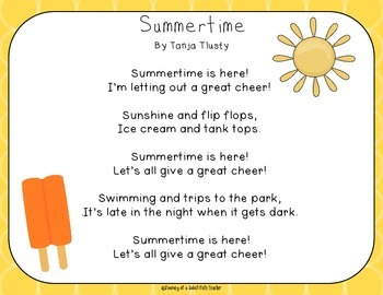 Summer Poem Pack By Journey Of A Substitute Teacher Tpt