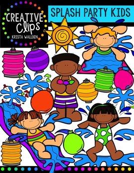 Splash Party Kids {Creative Clips Digital Clipart}