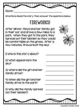 Splash into Summer Mini Stories and WH Comprehension Questions