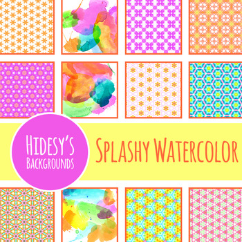 Splashy Watercolor Paint Background / Digital Papers Clip Art Commercial Use