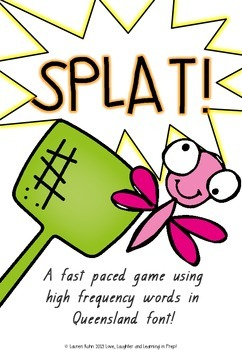 Splat! A fast paced game using high frequency words in Queensland font