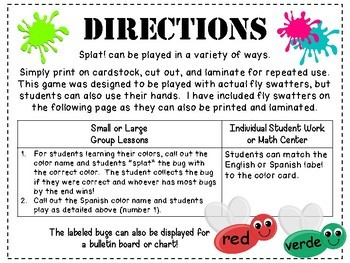 Splat! Color Name Game in English and Spanish