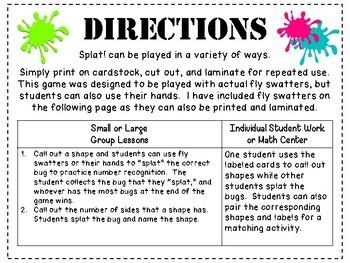 Splat! Shape Identification Game