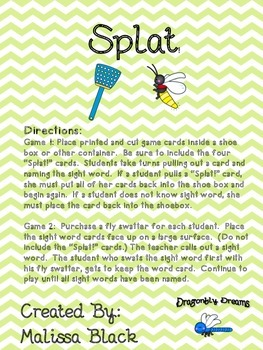 Splat!  Sight Word Identification Game