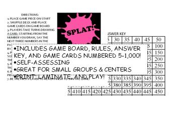 Splat! Skip Counting by 5s Board Game