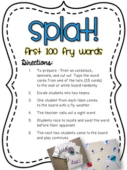 Splat! Swat the Sight Word Game
