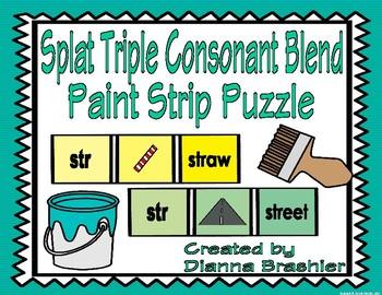 Splat Triple Consonant Blend Paint Strip Puzzle Match