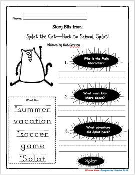 Splat the Cat-Back to School, Splat! Primary Activity Packet