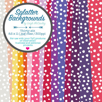 Splatter Backgrounds - 8.5 x 11 - 300dpi - 26 Colors!