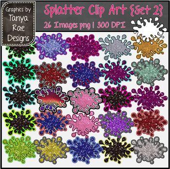 Splatter Clip Art {Set 2 - Glitter}