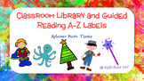 Splatter Paint Library Labels and Guided Reading Level Labels