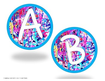 Letters and Numbers for Bulletin Board in Splatter Paint Style TWO sizes!