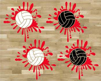 Splatter Volleyball ink svg Blood ball gift mom Christmas valentine's day 1181s