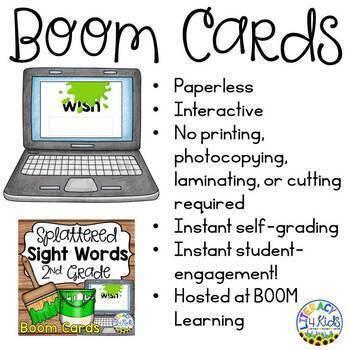 Splattered Sight Words Boom Cards (Digital Task Cards) for Grade 2