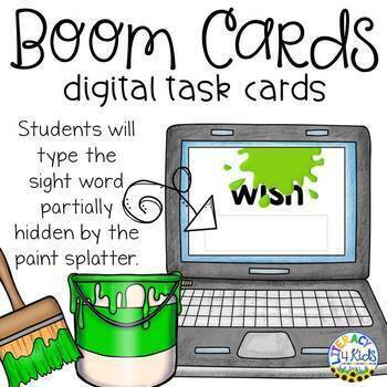 Splattered Sight Words Boom Cards (Digital Task Cards) for Grade 2