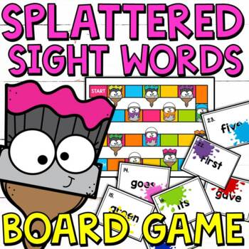 Splattered Sight Words Task Cards and Print and Go Game (2nd Grade)