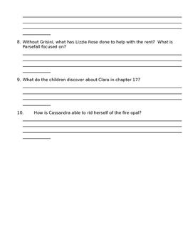 Splendors and Glooms Chapter 1-20 Quiz and Novel Test