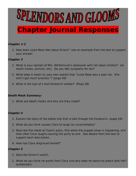 Splendors and Glooms Chapter Response Questions