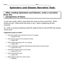 Splendors and Glooms Writing Narrative Task + Graphic Organizers