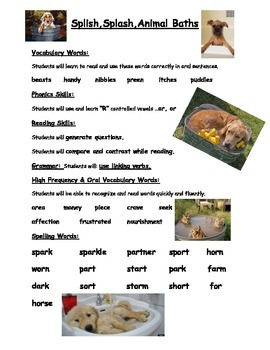Splish Splash Animal Bath - Weekly Skill Sheet - 2nd Grade Treasures