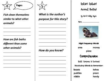 Splish Splash Animal Baths Trifold - Treasures 2nd Grade Unit 4 Week 1 (2009)