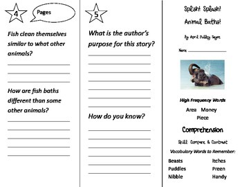 Splish Splash Animal Baths Trifold - Treasures 2nd Grade Unit 6 Week 2 (2011)