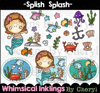 Splish Splash~Mermaid and Under the Sea Clip Art Collection