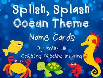 Splish Splash Ocean Theme Name Cards